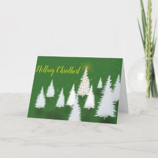 Nollaig Chridheil uaine Holiday Card