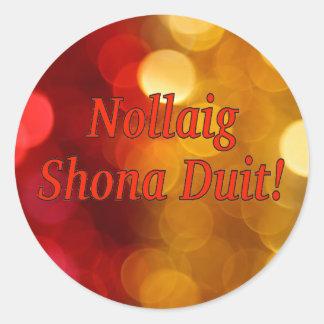 Nollaig Shona Duit! Merry Christmas in Irish rf Classic Round Sticker