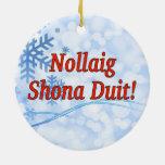 Nollaig Shona Duit! Merry Christmas in Irish rf Double-Sided Ceramic Round Christmas Ornament