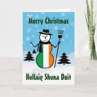 Nollaig Shona Duit Merry Christmas Ireland Snowman card
