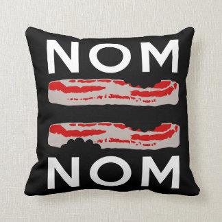 Nom Bacon Bacon Nom Throw Pillow