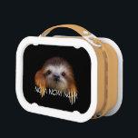 "Nom Nom Nom Baby Sloth Lunchbox<br><div class=""desc"">&quot;Nom Nom Nom Baby Sloth&quot; design by pawsforamoment.</div>"