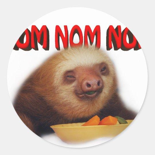 nom nom nom classic round sticker