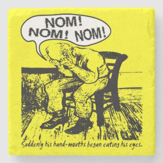 NOM NOM NOM: Hand Mouths Stone Beverage Coaster
