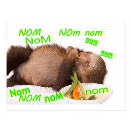 nom nom nom sloth postcard