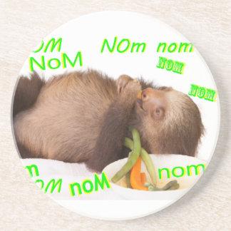 nom nom nom sloth sandstone coaster