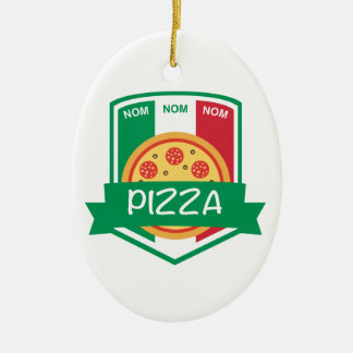 Nom nom Pizza Ceramic Ornament