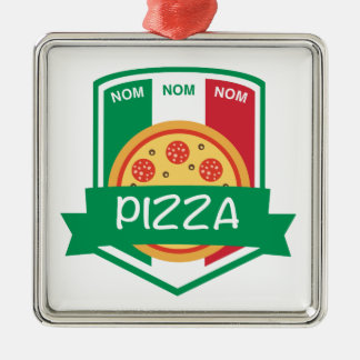Nom nom Pizza Metal Ornament