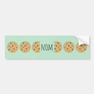 """Nom"" The Choc Chip Cookie Car Bumper Sticker"