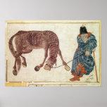 Nómada mongol que lleva su caballo el agua póster