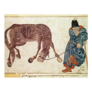 Nómada mongol que lleva su caballo el agua tarjeta postal