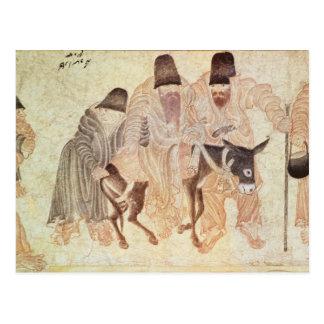 Nómadas mongoles con un burro, siglo XV Tarjeta Postal