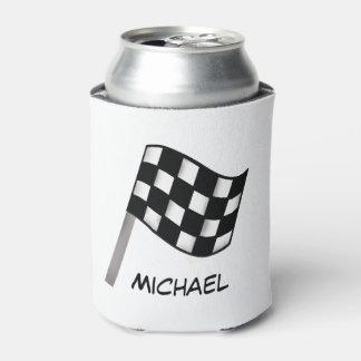 Nombre a cuadros blanco negro de la raza de la enfriador de latas