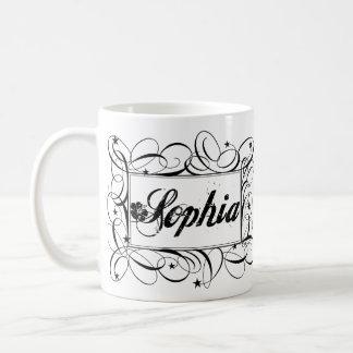 Nombre a Sophia en marco elegante del interior del Taza Básica Blanca