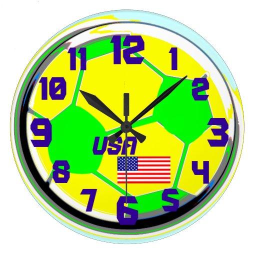 Nombre adaptable los E.E.U.U. de la bandera americ Reloj Redondo Grande