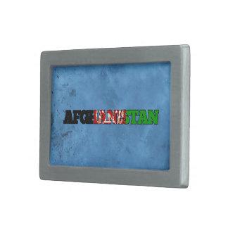 Nombre afgano y bandera en la pared fresca hebilla de cinturón rectangular