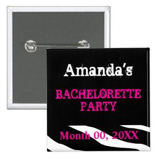 Nombre al fiesta de Bachelorette Pin Cuadrado