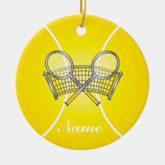 Nombre amarillo de la pelota de tenis el | DIY Adorno Navideño Redondo De Cerámica