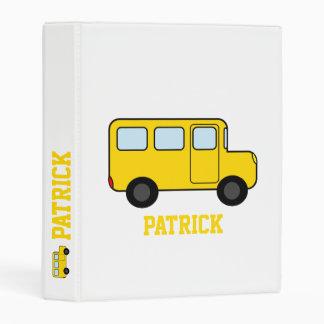 Nombre amarillo del personalizado del autobús mini carpeta