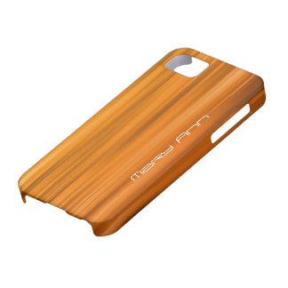Nombre anaranjado elegante del personalizado de la iPhone 5 fundas