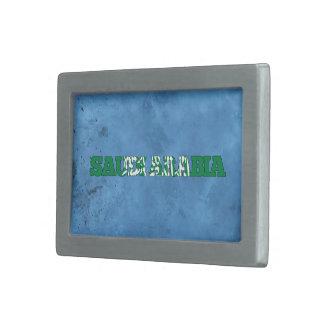 Nombre árabe y bandera en la pared fresca hebillas de cinturón rectangulares
