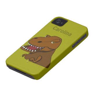 Nombre asustadizo del personalizado del dinosaurio iPhone 4 fundas