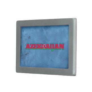 Nombre azerbaiyano y bandera en la pared fresca hebillas cinturón rectangulares