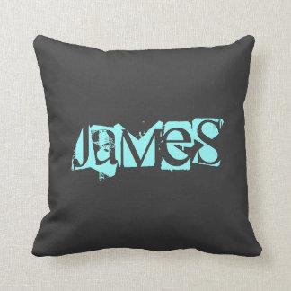 Nombre, azul, almohada de tiro negra cojín decorativo