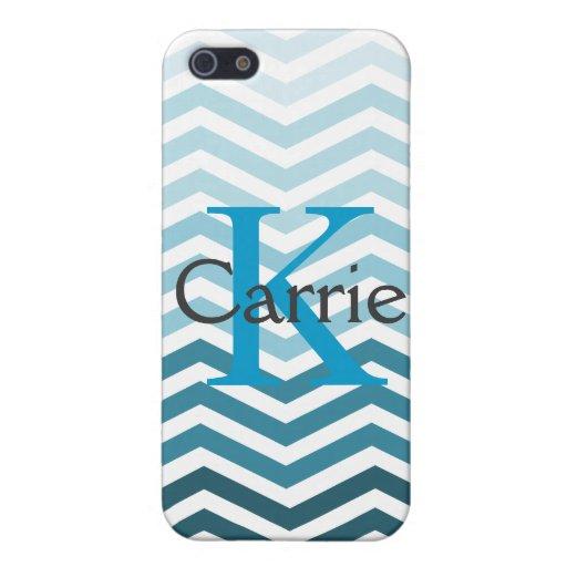 Nombre azul de Chevron + Caso inicial de Iphone 5  iPhone 5 Funda