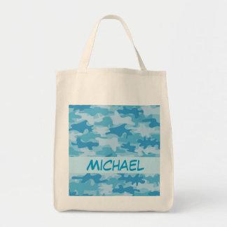 Nombre azul del camuflaje de Camo personalizado Bolsa Tela Para La Compra