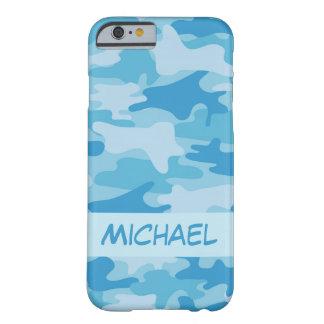 Nombre azul del camuflaje de Camo personalizado Funda Barely There iPhone 6