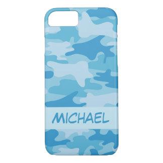 Nombre azul del camuflaje de Camo personalizado Funda iPhone 7