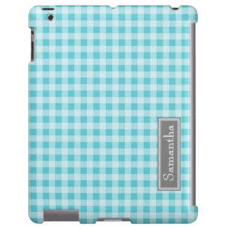 nombre azul del personalizado de la guinga del iPa Funda Para iPad