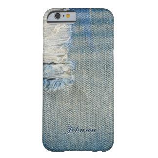 Nombre azul fresco del monograma del modelo de funda de iPhone 6 barely there