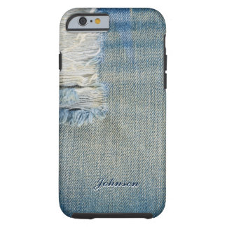 Nombre azul fresco del monograma del modelo de funda resistente iPhone 6