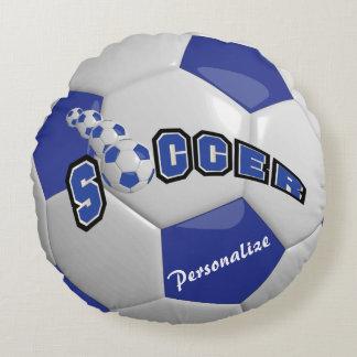 Nombre azul marino del balón de fútbol el   DIY Cojín Redondo