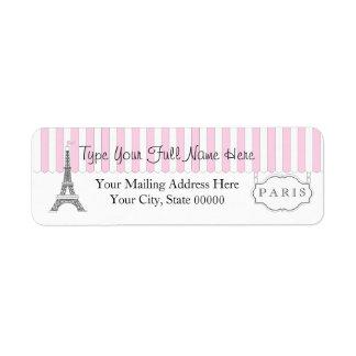Nombre blanco de la torre Eiffel del rosa el | Par Etiquetas De Remite