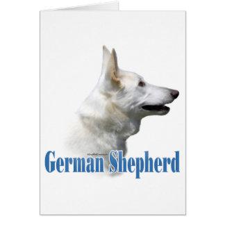 Nombre blanco del pastor alemán tarjeta de felicitación