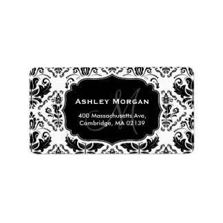 Nombre blanco negro clásico y elegante del etiqueta de dirección