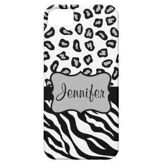 Nombre blanco negro de la piel del leopardo de la funda para iPhone SE/5/5s