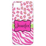 Nombre blanco rosado de la piel del leopardo de la iPhone 5 cobertura