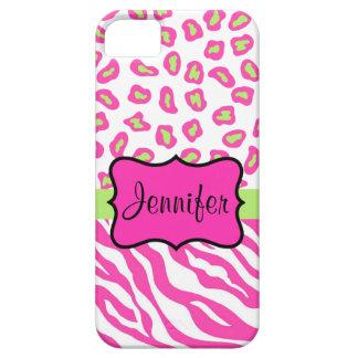 Nombre blanco rosado de la piel del leopardo de la iPhone 5 funda