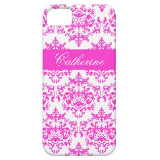 Nombre blanco rosado de los chicas del damasco funda para iPhone SE/5/5s