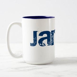 Nombre, blanco, taza azul