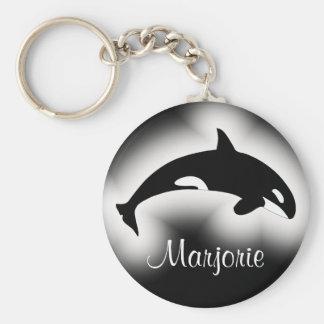 Nombre blanco y negro de la orca de la orca llavero redondo tipo pin