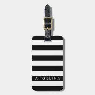 Nombre blanco y negro del personalizado del modelo etiquetas maleta