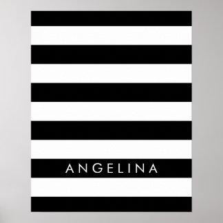 Nombre blanco y negro del personalizado del modelo póster
