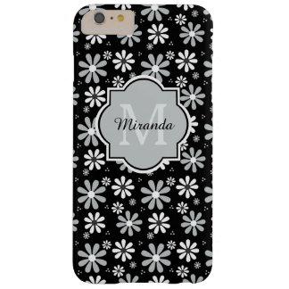 Nombre blanco y negro elegante de las margaritas funda barely there iPhone 6 plus