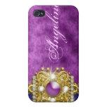 Nombre bling púrpura del monograma de las gemas iPhone 4 coberturas