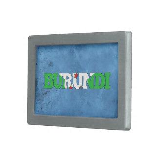 Nombre burundés y bandera en la pared fresca hebilla de cinturón rectangular